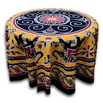Elephant Batik Cotton Tablecloth Round 90 inches Gold Blue Black Wine Red