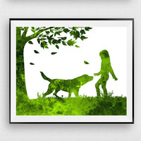 Nursery decor, Girl with dog print, Digital print, Green wall art, Dog art, Girl art, Watercolor, Woodland nursery, Gift for girls