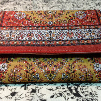 Handmade wallet , beautiful hand printed fabric with persian design