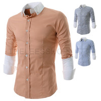 Two Toned Sleeve Design Stripe Slim Fit Dress Shirt