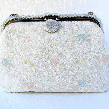 Beautiful Vintage Pastel Flower White Beaded Purse Boho Spring Wedding Clutch Formal Bridal Handbag Bohemian Chic Bride Blue Pink Yellow