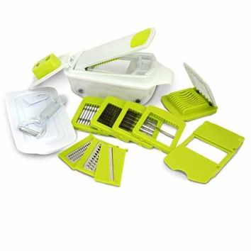MegaChef 8-in-1 Multi-Use Slicer Dicer and Chopper with Interchangeable Blades, Vegetable and Fruit Peeler and Soft Slicer