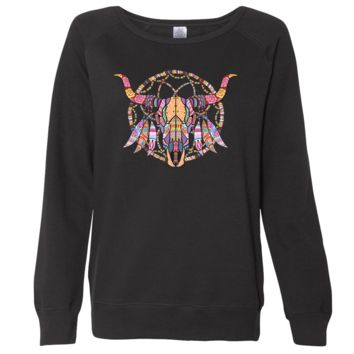 Cow Skull Mosaic Ladies Lightweight Fitted Crewneck