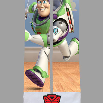 Custom Socks Toy Story Buzz Lightyear Socks - Socktimus Prime Custom Sublimated Socks - Toy Story Socks, Disney Socks, Buzz Lightyear Socks