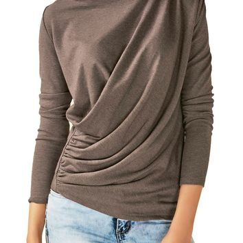 Chicloth Coffee Long Sleeve Draped Round Neck T Shirt