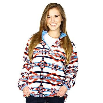 Harbuck Fleece 1/4 Zip Pullover in White and Navy by Southern Marsh - FINAL SALE