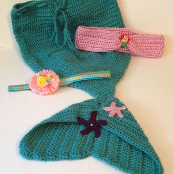 Super Cute Mermaid Outfit with Ariel & Flounder - Newborn to 12 months
