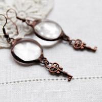 Key round Glass and copper retro earrings, shiny sky, spring valentin's day ideal gift, beadwork cluster dangle drop hoop earrings