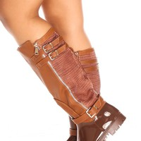 TAN RUBBER FAUX LEATHER MATERIAL BUCKLE STRAPS SIDE ZIPPER TEXTURED KNEE HIGH RAIN BOOTS