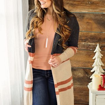 * Home Sweet Home Duster Cardigan: Charcoal/Mocha