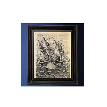 Kraken Sailing Ship Attack, Cthulhu, Sea Monster, Dictionary Art Print, On Vintage Dictionary Paper, Recycled, Upcycled, Geek Decor,