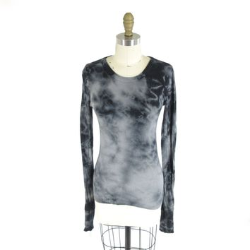 S - ENZA COSTA Gray & Black Tie Dye Patterned Cashmere Blend Shirt Top 0721DK