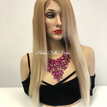 Blond Balayage Sombre' Swiss Front Lace Wig | Long Straight Soft Layered Hair | Sierra