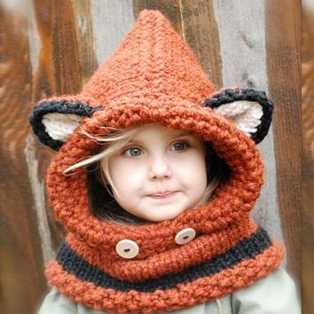 2016 children knitted wool hat and scarf set one-piece winter warm head scarves and hats set animal style baby sets