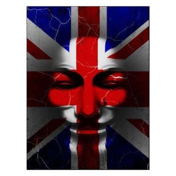PEAPGQ9 Guy Fawkes Day Union Jack Distressed British Flag Mask Rectangular Decal Sticker
