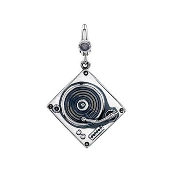 Sterling Silver Antiqued 3D Record Player Clip-On Charm
