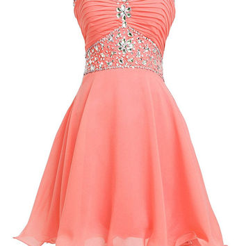 Sweetheart Strapless Homecoming Dresses ,A-Line Crystal Chiffon Homecoming Dress