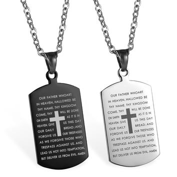 Lord's Prayer Bible Pendant Necklaces