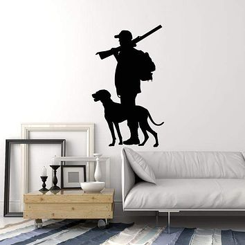 Vinyl Wall Decal Silhouette Hunter with Dog Hunting Shop Club Stickers Mural (ig5387)