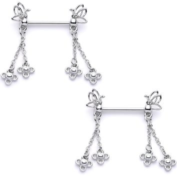 """9/16"""" Clear Gem Butterfly Dangle Barbell Nipple Ring Set"""