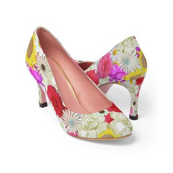 Floral women's high heel shoes