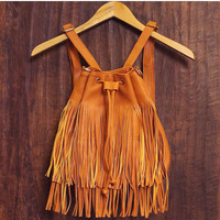 Shake It Out Fringe Purse - Tan