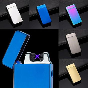 DCCKU7Q 2017 USB Electric Dual Arc Metal Flameless Torch Rechargeable Windproof Lighter Double arc pulse cross ligthers smoking lighter