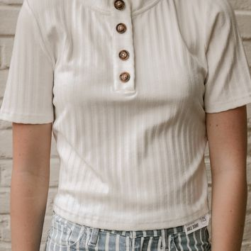 Ribbed Crop Button Top