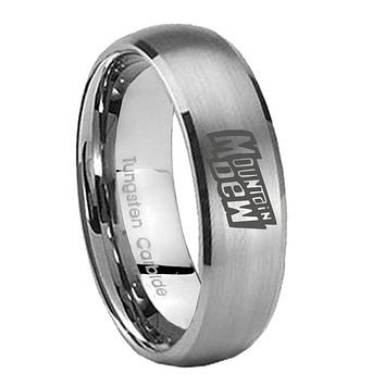 8MM Classic Satin Silver Dome Mountain Dew Tungsten Laser Engraved Ring
