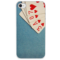 iPhone 4 /4S case A Full House poker cards by SkyeZPhotography