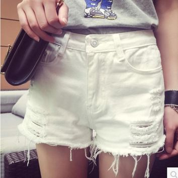 Plus Size 26-34 Womens Denim Shorts White Blue Hot Shorts Distressed Jeans Ripped Capris Raw Edge Sexy Loose Shorts 330