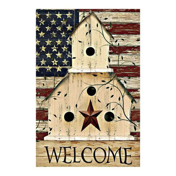USA Garden Flags Designed w/Patriotic Themes; 100% Polyester Double-Sided