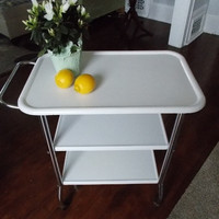 Vintage White and Chrome Metal Kitchen Cart at Ancient of Daze