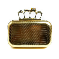 Brass Knuckles Clutch - Gold