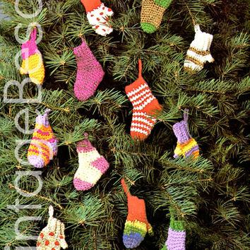CROCHET CHRISTMAS PATTERNS 1970s Tiny Mini Mittens and Socks for Holiday Season Tree Ornament & Gift Wrapping Decorations Vintage Beso