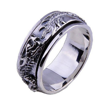 Men's Retro Dragon Shape Ring Rotatable .925 Silver Thai Jewelry Apparel-Size 9