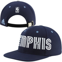 adidas Memphis Grizzlies Oversized Wordmark Strapback Adjustable Hat - Navy Blue