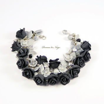 Black Roses Bracelet - Black and Silver flowers - Polymer clay jewelry - Handmade floral bijouterie