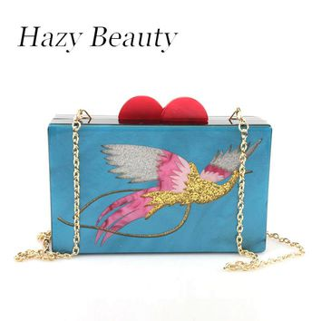 Hazy beauty acrylic women luxury bling bird design evening bag chic lady cross body banquet handbag fashion party purse A350