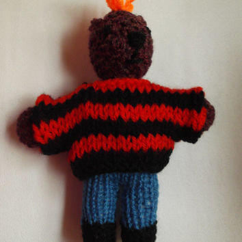 Tiny Teddy - punk teddy with orange mohican (mohawk) and black and red sweater - OOAK