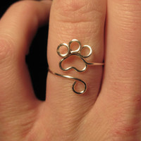 Wire Wrapped Paw Print Adjustable Ring MADE TO ORDER
