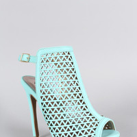 Qupid Laser Cutout Slingback Heel Color: Mint, Size: 7