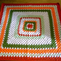 Crochet Blanket - Large Square style blanket with burnt orange/orange/sage green/spring green/white  ID  810    (220)  (B)