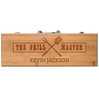 Personalized BBQ Grill Gift Set - Accessories include Fork,Tong and Spatula - Premium Custom BBQ Set for Grill Masters