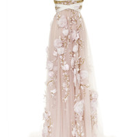 3D Silk Ribbon Rose Empire Waist Gown by Marchesa - Moda Operandi