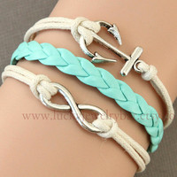 SALE-Infinity bracelet, anchor bracelet, mint green braid leather bracelet, cream wax cords,