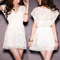 Charm Deep V-Neck Women Sheer Lace Shrink Waist Slim Mini Casual Pleated Dress