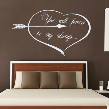 Family Wall Decal Quote You Will Forever Be My Always Vinyl Sticker Love Art Mural Valentines Home Bedroom Decor Living Room Design KY152