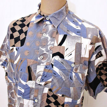 Vintage 80s Fashion Shirt Crazy Pattern Indie Oversized Print XL