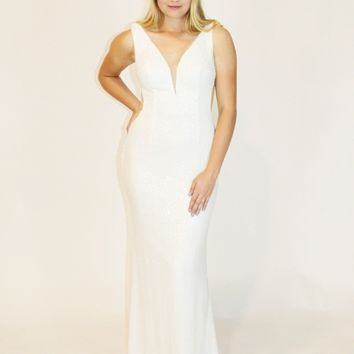 White Sequin Gown with Mesh Cut-outs